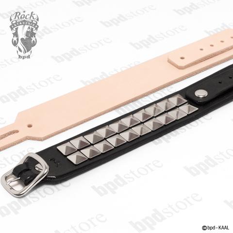 モード・ロック・パンクな、ハイグレード・ブラックレザーブレスレット 栃木レザー使用