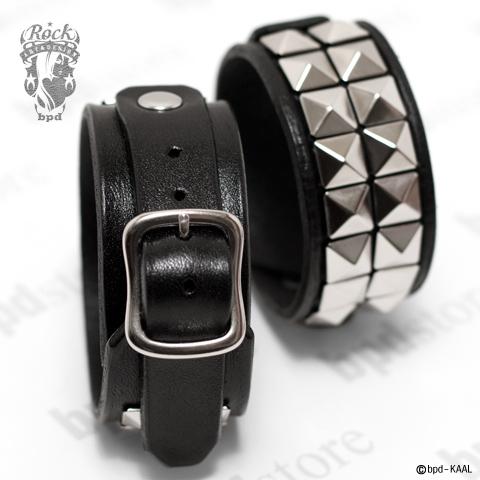 モード ロック パンクなスタッズが輝く、ハイグレード・ブラックレザー ブレスレット