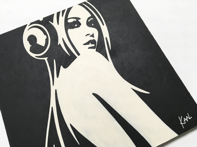Woman with Headphone monochrome Painting by KAAL