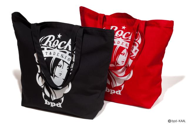 ロックバンドのロゴのような Rock エンブレムの大きめキャンバス トートバッグ 商品詳細
