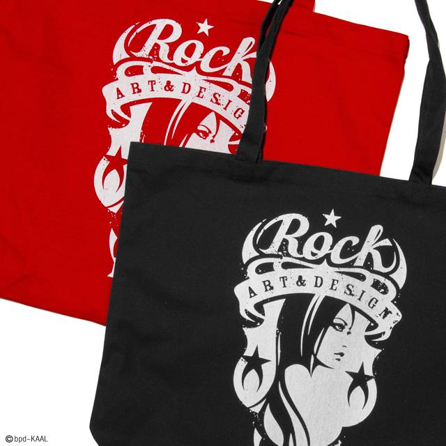 ロックバンドのロゴのような Rock エンブレムの大きめキャンバス トートバッグ 商品詳細2
