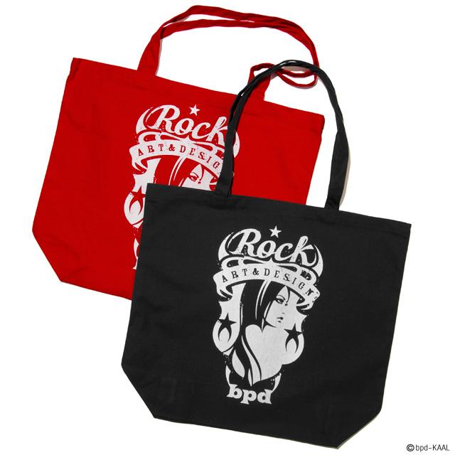ロックバンドのロゴのような Rock エンブレムの大きめキャンバス トートバッグ