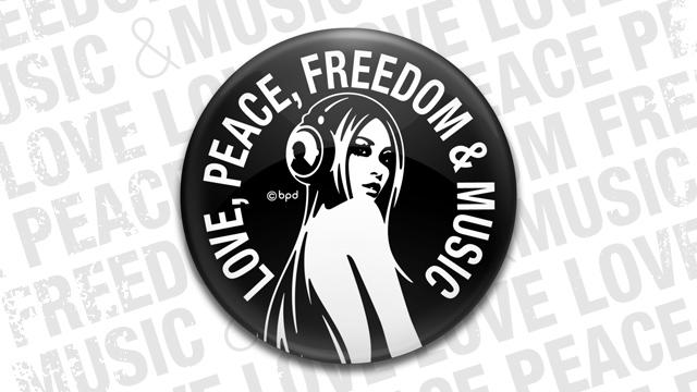 Love Peace Freedom Music のコンパクトな缶ミラー