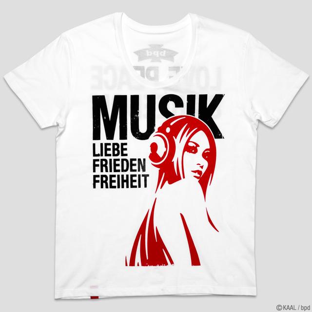 ロックフェスTシャツ Music Love Peace Freedom