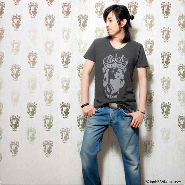 ロック エンブレム Tシャツ カットソー モデル写真 KAAL