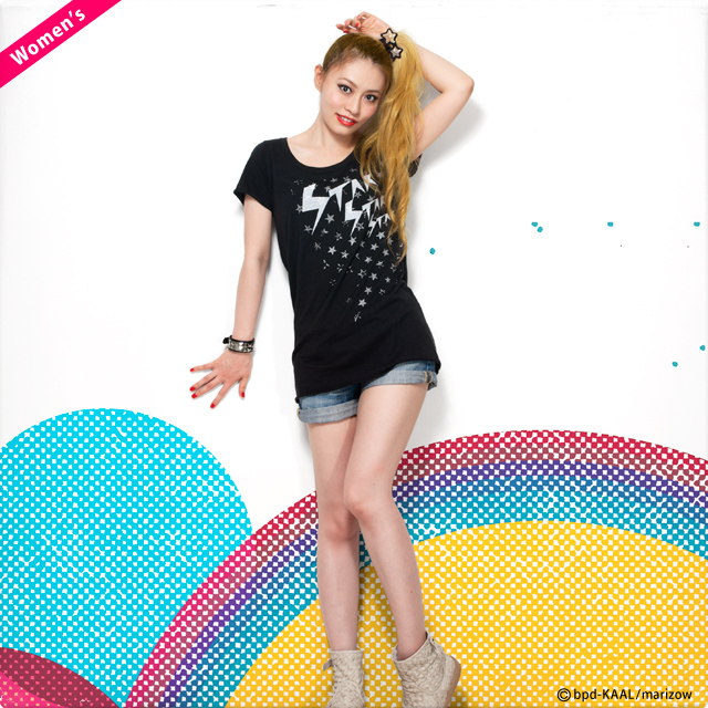 STAR 星柄 レディースTシャツ ロング丈カットソー モデル写真 marizow
