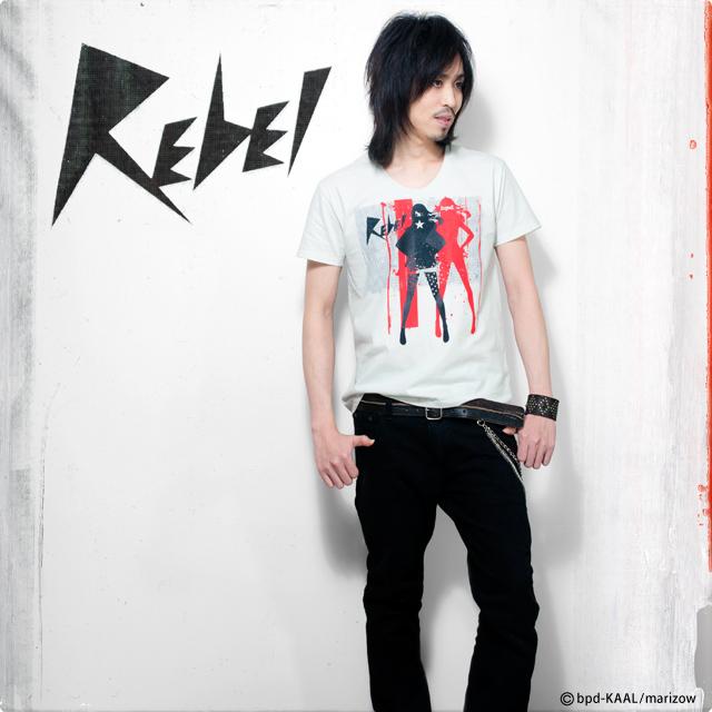 ロック系女性イラスト Tシャツ REBEL モデル写真