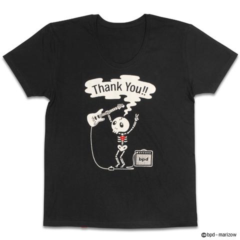 ギター レジェンド ロックでかわいいガイコツ デザインTシャツ 拡大写真